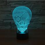 terrorista máscara toque escurecimento 3D conduziu a luz da noite 7colorful decoração atmosfera lâmpada de iluminação novidade luz de