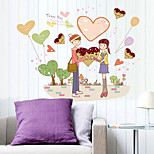 Romance Chocolate Heart Couple Happy Day Wall Stickers PVC Removable Bedroom Wall Decals