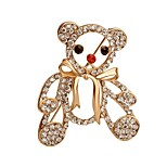 Hot Sale Shining Crystal Bear with Bowknot Brooch for Women