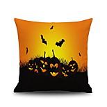 Halloween Pumpkin & Bat Square Linen  Decorative Throw Pillow Case Cushion Cover