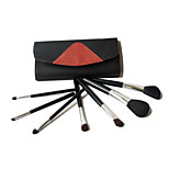 7 Makeup Brushes Set Goat Hair Professional / Portable Wood Face / Eye / Lip Orange