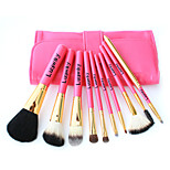 10 Makeup Brushes Set Goat Hair Professional / Portable Wood Handle Face/Eye/Lip