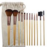 12 Makeup Brushes Set Goat Hair Professional / Portable Wood Face / Eye / Lip