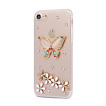 Pour Strass Coque Coque Arrière Coque Papillon Dur Polycarbonate AppleiPhone 7 Plus / iPhone 7 / iPhone 6s Plus/6 Plus / iPhone 6s/6 /