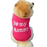 Lovely Cotton I Love My Mommy Daddy Vest Shirt for Pets Summer Breathable Dog Clothes