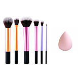 6 Blush Brush Synthetic Hair Professional / Full Coverage / Portable Metal Face / Eye Others And Puff Pink