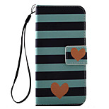 For iPhone 7 7 Plus 6s 6 Plus SE 5S Case Cover Striped Love Pattern PU Leather Material Card Stent