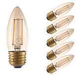 2W E26 LED Filament Bulbs B10 2 COB 160 lm Amber Dimmable 120V 6 pcs