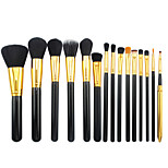 15 Makeup Brushes Set Synthetic Hair Professional / Portable Wood Eye / Lip Black