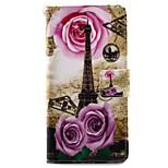 Para Porta-Cartão / Com Suporte / Flip / Estampada / Magnética Capinha Corpo Inteiro Capinha Torre Eiffel Rígida Couro PU SonySony Xperia