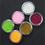 6 Kinds Of Color/SET Nail Art Decoration Glitter Powder Nail Necessary