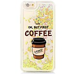 Coffee Back Flowing Quicksand Liquid/Printing Pattern PC Hard Case Cover For iPhone 6s Plus/6 Plus/6s/6/SE/5s/5
