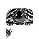 Punk Style Dragon Claw Black Onyx Skull Ring Cubic Zirconia Skeleton Biker Ring 316L Stainless Steel Dark Ruby Jewelry