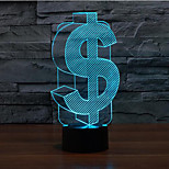 Dollar Touch Dimming 3D LED Night Light 7Colorful Decoration Atmosphere Lamp Novelty Lighting Christmas Light