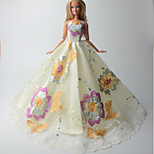 Party/Evening Dresses For Barbie Doll Ivory Print Dresses For Girl's Doll Toy