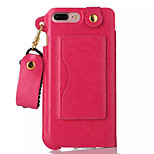 For iPhone 7 Case / iPhone 7 Plus Case / iPhone 6 Case Card Holder / with Stand Case Back Cover Case Solid Color Hard PU Leather Apple