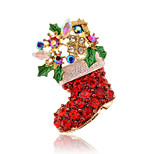 Christmas Women Red Christmas Boots Brooches