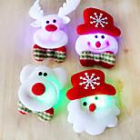 12PCS Christmas Santa brooch brooch flash fabric luminous Christmas Decoration Christmas gift(Style random)