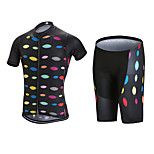 QKI Cycling wear Iron Shadow Cycling Jersey with Bib Shorts 5D Pro Gel Padde Unisex Short SleeveBreathable