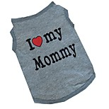 Fashion Cotton I Love Daddy Mommy Pet Shirt Dog Clothes Apparel Clothing Summer Breathable Vest T-Shirt