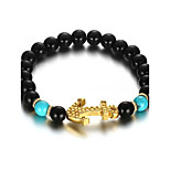 Men's Strand Bracelet Jewelry Party/Birthday/Daily/Casual Fashion Alloy Turquoise Gold Plated Black 1pc Gift
