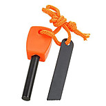 FURA Outdoor Magnesium Alloy Flintstone Fire Starter with Scraper - Black / Orange (M-Size)