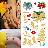 3PCS/SET Tattoo Sticker Gilding Christmas Designs Non-toxic Environmental Protection Waterproof Breathable
