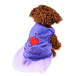 Cat Dog Shirt / T-Shirt Dress Dog Clothes Summer Spring/Fall Hearts Cute Fashion Black Purple Pink