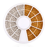 1200pcs/set Gold Silver Tiny Circle Beads Nail Art Decoration Wheel 3d DIY Caviar Nail Accessories