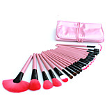 24 Makeup Brushes Set Nylon Hair Professional / Portable Wood Handle Face/Eye/Lip Pink