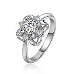 Wedding Jewelry Plated Rings for Women Silver Plated Ring White Zircon Wedding Rings