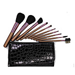 10 Makeup Brushes Set Horse Portable Wood Face NFSS / Send Package