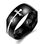 Ring Cross Others Unique Design Fashion Halloween Daily Casual Sports Jewelry Stainless Steel Men Ring 1pc,7 8 9 10 Black