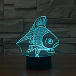 poissons toucher gradation 3d conduit de lumière de nuit lampe atmosphère décoration 7colorful éclairage nouveauté lumière de Noël