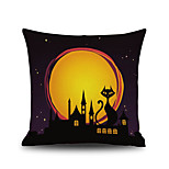 Halloween Night Cushion Cover Black Cat Castle Square Linen  Decorative Throw Pillow Case