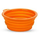 Cat Pet Dog Silicone Travel Bowl Collapsible Folding Dish Feeder Orange