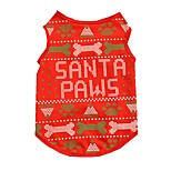 Christmas Cute Festival Snata Paws Bone Cotton Shirt for Dogs Red Dog Clothes