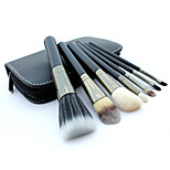 7 Makeup Brushes Set Goat Hair Professional / Portable Wood Handle Face/Eye/Lip