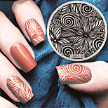Manicure Circular Plate Geometric Flower Blue Membrane DIY Stamp Printing Template