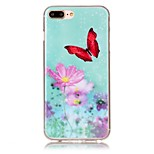 Butterflies and Flowers Pattern HD Painted TPU Material Phone Shell For iPhone 7 7 Plus 6s 6 Plus