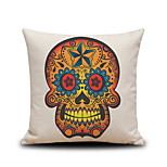 Halloween Golden Skull Head Drawing Linen Decorative Throw Pillow Case Cushion Cover