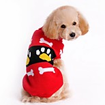 Cat Dog Sweater Dog Clothes Winter Spring/Fall Color Block Cute Christmas New Year's Red Pink