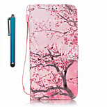 For Samsung Galaxy S7 edge S7  Case Cover with Stylus Cherry Tree 3D Painting PU Phone Case S6 edge S6 S5 S4