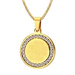 Men's Pendant Necklaces Jewelry Party/Birthday/Daily/Casual Cubic Zirconia Gold Plated Stainless Steel Golden 1pc Gift