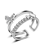 Fine 925 Silver /Rose Gold AAA Butterfly Heart Zircon Crystal Midi Knuckle Band  Open Adjustable Ring for Women