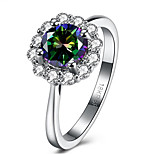 Mystic Rainbow Topaz Multi-Color AAA Crystal Wihte Gold Planitum Filed Wedding Ring Fashion Women jewelry 18KRGP