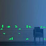 15Pcs/Set Christmas Luminous Wall Stickers Mouse Hole Fluorescence Stick 2*19Cm