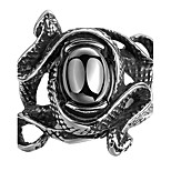 Fashion Men's 316L Stainless Steel Snake Ring Zircon Ring Punk Rock Jewelry Domineering Cool Rings for Men