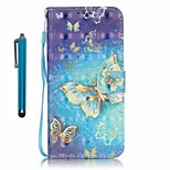 For Samsung Galaxy A5 (2016) A3 (2016) Case Cover with Stylus Gold Butterfly 3D Painting PU Phone Case