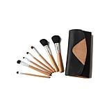 7 Makeup Brushes Set Goat Hair Professional / Portable Wood Face / Eye / Lip Light Brown